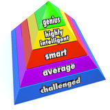 Genius Intelligence Level Pyramid Steps. A pyramid of steps reading Genius, Highly Intelligent, Smart, Average and Challenged to represent intelligence levels of Stock Image