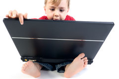 Genius Kid. A genius little boy using a laptop, on a white background stock photos