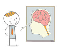 Genius Lectures. Doodle stick figure: A lecturer tutoring a lesson on how to maximize brain Royalty Free Stock Image