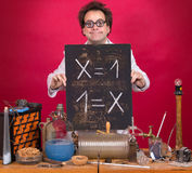 Genius with mathematical formula Royalty Free Stock Images