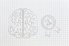 Brain next to 1st place competition winner ribbon, genius mind c. Genius mind conceptual illustration: brain next to 1st place competition winner ribbon Stock Illustration