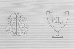 Brain next to 1st place competition winner trophy, genius mind c. Genius mind conceptual illustration: brain next to 1st place competition winner trophy Royalty Free Illustration
