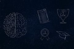 half digital half human brain next to group of education accomplishment icons from degree to trophy and from 1st place winner med royalty free illustration