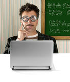 Genius nerd glasses silly man board math formula Royalty Free Stock Image