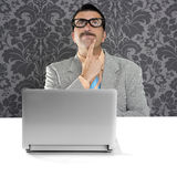 Genius nerd silly glasses thinking gesture Royalty Free Stock Photos