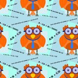 Genius owl seamless background design Stock Images