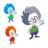 Genius physicist  colored vector sketches Royalty Free Stock Photography