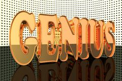 Genius. Word in gold with lights, 3d render Royalty Free Stock Images