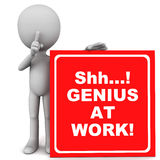 Genius at work. Shh... genius at work text in white over red banner held up by little 3d man, do not disturb work area concept graphic Stock Images