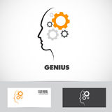 Genius working mind gear logo Royalty Free Stock Photos