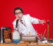 Geniusr working in laboratory Royalty Free Stock Images