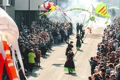 Genk, Belgium - May 1st 2019: Participants of annual O-parade passing through Grotestraat royalty free stock photos
