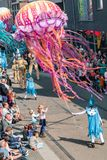 Genk, Belgium - May 1st 2019: Participants of annual O-parade stock photography