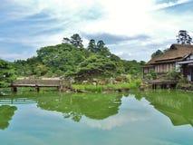 Genkyuen庭院在彦根,滋贺县,日本 免版税库存图片