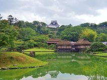 Genkyuen庭院在彦根,滋贺县,日本 库存图片