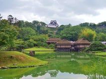 Genkyuen trädgård i Hikone, Shiga prefektur, Japan Fotografering för Bildbyråer