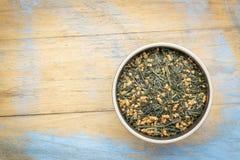 Genmaicha绿茶用烤米 库存照片