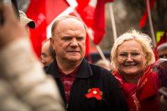 Gennady Zyuganov during procession of May Day Stock Image