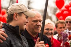 Gennady Zyuganov during procession of May Day Stock Photo