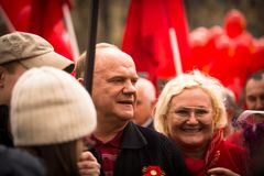 Gennady Zyuganov during procession of May Day Royalty Free Stock Photography