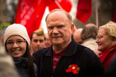Gennady Zyuganov during procession of May Day Royalty Free Stock Photos