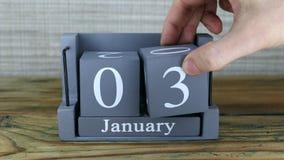 3 gennaio, calendario del cubo stock footage