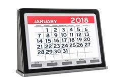 Gennaio 2018 calendario digitale, rappresentazione 3D Immagine Stock