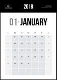 Gennaio 2018 Calendario murale minimalista Immagini Stock