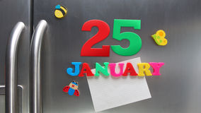 25 gennaio data di calendario fatta con le lettere magnetiche di plastica Immagine Stock Libera da Diritti