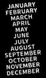 Gennaio, febbraio, marzo, aprile, maggio, giugno, luglio, augusto, settembre, ottobre, novembre, novembre, dicembre - nomi di mes Fotografie Stock Libere da Diritti