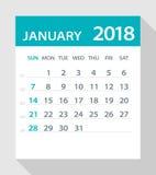 Gennaio 2018 foglia piana del calendario - illustrazione illustrazione vettoriale