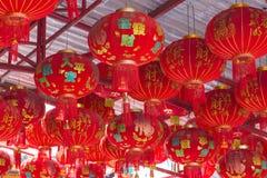 10 GENNAIO 2017: Lanterna del cinese tradizionale che appende sull'albero dentro Immagine Stock