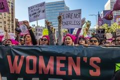 21 GENNAIO 2017, LOS ANGELES, CA 750.000 partecipano marzo delle donne, ad attivisti che protestano Donald J Trump nella nazione  Immagini Stock Libere da Diritti