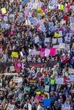 21 GENNAIO 2017, LOS ANGELES, CA Una vista aerea di 750.000 partecipa marzo delle donne, ad attivisti che protestano Donald J Tru Immagine Stock Libera da Diritti