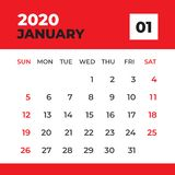 Gennaio 2020 modello, calendario da scrivania per 2020 anni, inizio di settimana la domenica, progettazione del pianificatore, ca royalty illustrazione gratis