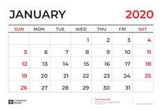 Gennaio 2020 modello del calendario, dimensione 9 del layout calendario di calendario da scrivania 5 x 6 A 5 pollici, progettazio royalty illustrazione gratis