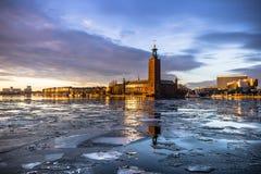 21 gennaio 2017: Panorama del comune di Stoccolma dal Fotografia Stock
