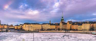 21 gennaio 2017: Panorama di vecchia città di Stoccolma, Svezia Fotografie Stock Libere da Diritti