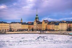 21 gennaio 2017: Panorama di vecchia città di Stoccolma, Svezia Fotografia Stock