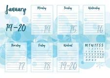 Gennaio 2019 pianificatore settimanale Fotografia Stock