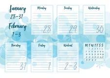 Gennaio 2019 pianificatore settimanale Immagini Stock