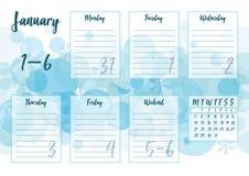 Gennaio 2019 pianificatore settimanale Immagine Stock Libera da Diritti