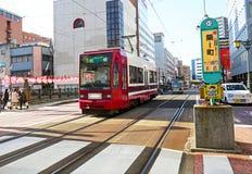27 gennaio 2017 sistema del tram di Nagasaki, scena della via japan Fotografia Stock