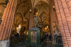 21 gennaio 2017: Statua di San Giorgio che uccide il drago nella t Immagini Stock Libere da Diritti