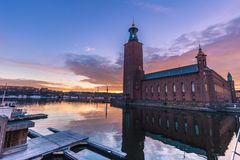 21 gennaio 2017: Tramonto dal comune di Stoccolma, Svezia Fotografia Stock Libera da Diritti