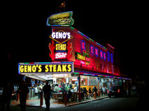 Famous Cheesesteak Restaurant Geno's Steaks in Philadelphia, PA at Night Stock Images