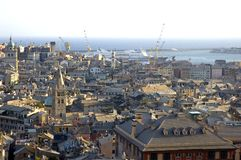 Genoa. Roofs of the houses in genoa and view to the harbor area Stock Images