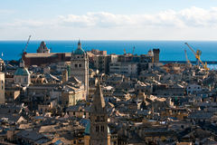 Genoa. A view of the historic center of Genoa with the bell tower of the Cathedral stock photography
