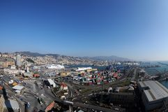 Genoa aerial view, fish-eye Stock Photo