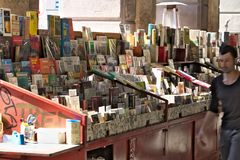 Genoa. Bank of used books in Piazza Colombo stock photo